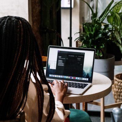 Woman editing on laptop