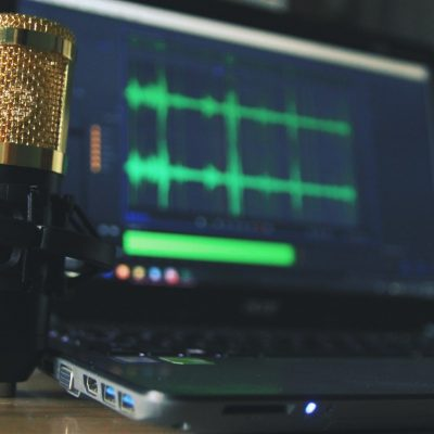 mic and audio software on laptop