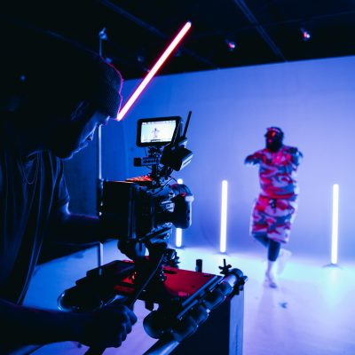 music video set, blue lighting